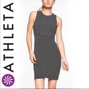 Athleta Black White Stripes La Palma Dress Size XL